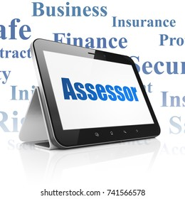 Insurance concept: Tablet Computer with  blue text Assessor on display,  Tag Cloud background, 3D rendering