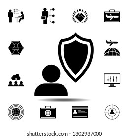 insurance, job icon. Simple glyph illustration element of Business global icons set for UI and UX, website or mobile application