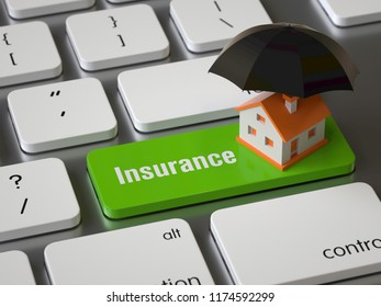 Insurance key on the keyboard, 3d rendering,conceptual image.