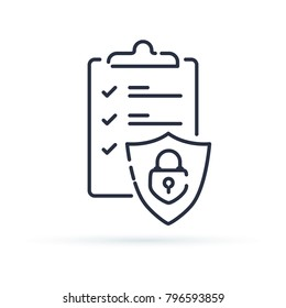 Insurance policy concept, check board and shield, data security, fraud analysis,  line icon. Secured documents icon for web. Outline one line minimalistic symbol