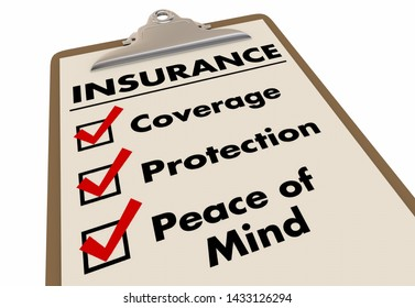 Insurance Policy Coverage Protection Checklist Words 3d Illustration