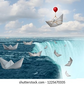 Insurance protection and risk aversion security symbol as paper boats in peril with one saved by a balloon as a coverage assurance concept with 3D illustration elements.