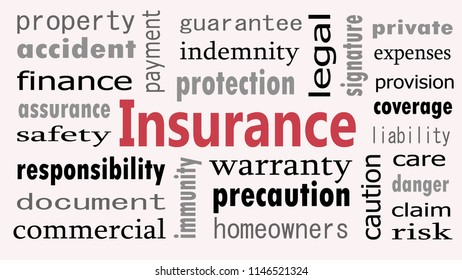 Insurance word cloud concept on white background.