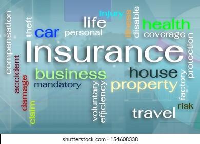 Insurance word cloud on virtual reality screen