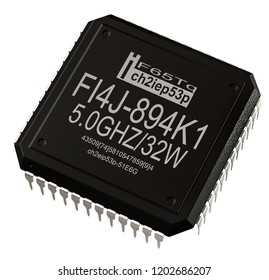 Integrated circuit digital microprocessor in computer parts. Micro chip artificial intelligence. 3d rendering new technologies integrated microprocessor component. Isolated.