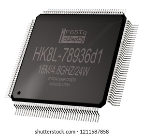 Integrated circuit or lowpass micro chip and new technologies on isolated. Computer parts integrated coprocessor integral digital i CMOS coprocessor microprocessors 3d rendering.