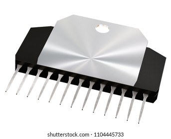 Integrated circuit or micro chip on isolated. Computer parts artificial intelligence component, of digital electrical integrated circuits. 3d rendering of CMOS audio power amplifier. Top view.