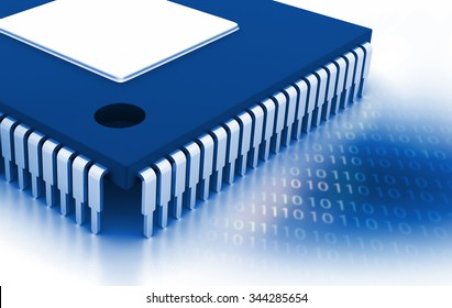 Integrated Circuit on binary background, IC chip