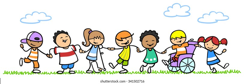 Integration of happy children with disability in nature
