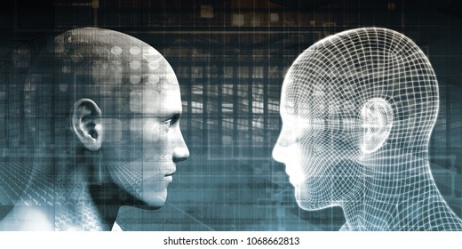 Integration with Technology as a Art Concept 3D Render