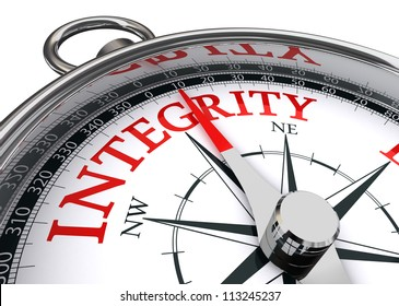 integrity red word indicated by compass conceptual image on white background