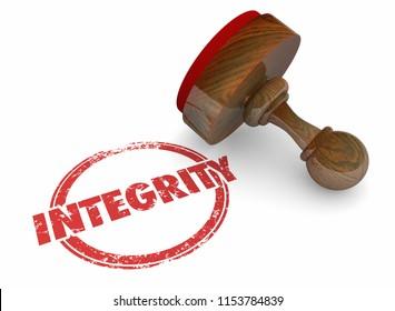 Integrity Trust Honesty Reputation Word Stamp 3d Illustration