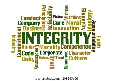 Integrity word cloud on white background