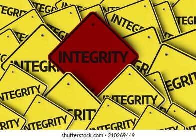 Integrity written on multiple road sign