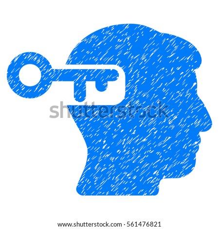 Intellect Key Grainy Textured Icon Overlay Stock Illustration