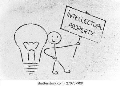 intellectual property and copyright ownership: funny character with lightbulb and sign