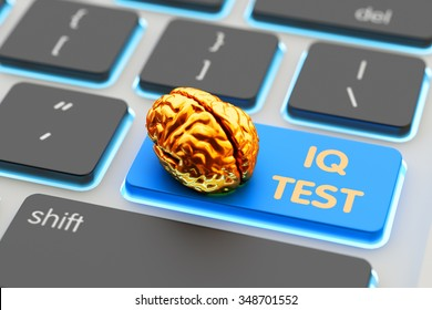 Intelligence level measurement app, IQ test concept, golden human brain on blue computer keyboard key closeup view