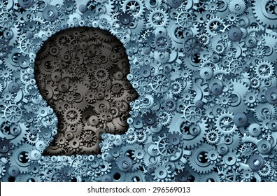 Intelligence machine and human brain as a thinking technology machine or neurology medical symbol with a head shape made of cogs and gears for strategy psychological and mental neurological activity.