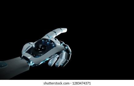 Intelligent robot machine pointing finger on dark background 3D rendering