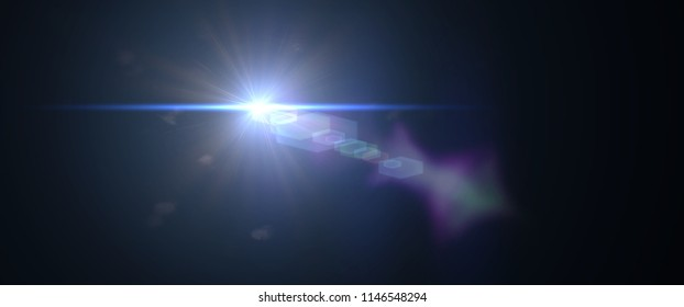 intense blue lens flare effect overlay texture with bokeh effect and anamorphic light streak in front of a black background, cinematic format