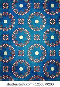 intense dark blue and red geometric design