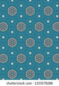 Intense teal geometric design