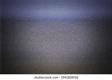 Intentional distortion, noise and scanlines: the blank screen of an old VHS player connected to a tv, cyan yellow color zones (bad signal, damaged tape).