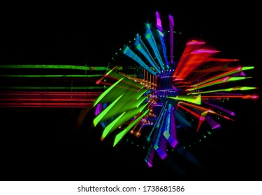 intentional movement of the camera colorful lights in space