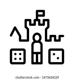 Interactive Kids Castle Personage Sign Icon Thin line. Castle, Character Figure And Glassie Game Children Playing Gaming Items Linear Pictogram. Monochrome Contour Illustration