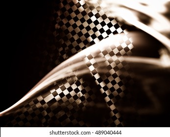 Interesting abstract background in techno style. Stylized decorated fragment of the checkered flag. Expressive approach to the subject races, rallies, speed, sport. Racing abstract background.