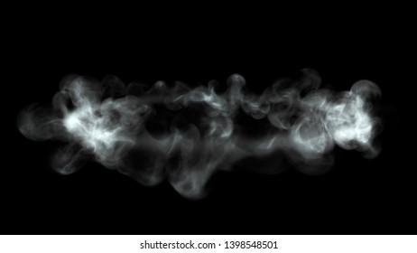 Interesting shape of smoke on black background 3d render