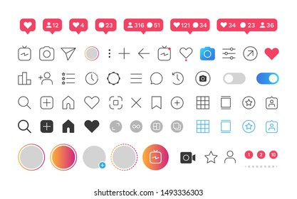 Interface buttons. Like heart user favorite option comment bubble social media icons.  mobile ui social speech bubbles