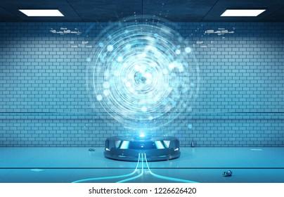 Interface hologram projector in dark underground tunnel 3d rendering