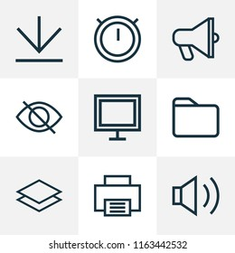 Interface icons line style set with downloading, amplifier, dossier and other sound elements. Isolated  illustration interface icons.