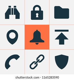 Interface icons set with location, download, folder and other dossier elements. Isolated  illustration interface icons.