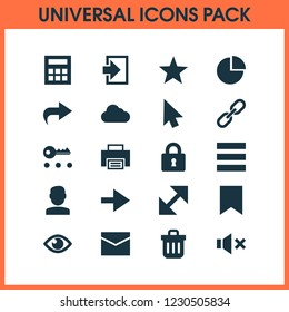 Interface icons set with show, favorite, list and other calculate  elements. Isolated  illustration interface icons.