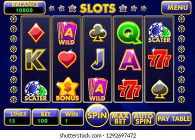 Interface slot machine. Complete menu of graphical user interface and full set of buttons for classic casino games creation. Casual Game.