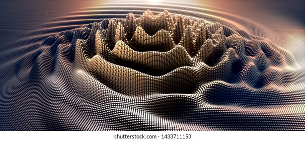 Interference and waves in a digital raster microstructure - 3D illustration