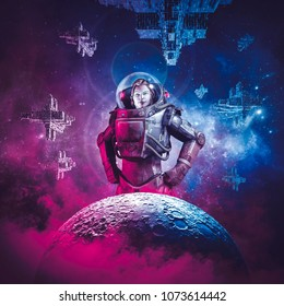 Intergalactic female space hero / 3D illustration of science fiction scene showing heroic woman astronaut rising above moon with fleet of spaceships in the background