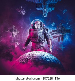 Intergalactic space hero / 3D illustration of science fiction scene showing heroic male astronaut rising above moon with fleet of spaceships in the background