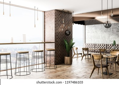 Interiof of modern cafe with brick and concrete walls, wooden floor, square tables with chairs and white sofas. 3d rendering