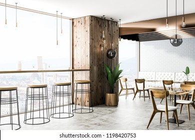 Interiof of modern cafe with gray brick and wooden walls, concrete floor, square tables with chairs and white sofas. 3d rendering