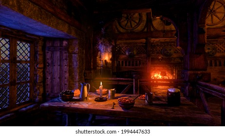 Interior 3D render of a medieval tavern or inn lit by candles at night with food and drinks on a table by a window and log fire burning in the background.