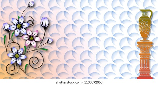 interior 3d  wallpaper , marble wall and floor for kitchen and bath tile for print , flower abstract texture  background ,fabric textile pattern for indian saree t-shirt design ,