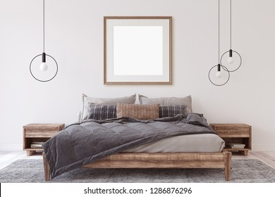Interior ang frame mockup. Wooden bedroom. 3d render.