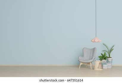 Interior Armchair In the living room,modern style 3D rendering.