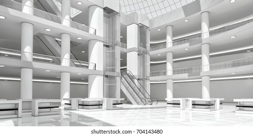 Interior of the atrium of the shopping center. Supermarket, mall. 3d image.