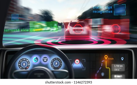 Interior of autonomous car with the machine learning algorithms. HUD(head up display) or GUI (graphical user interface). 3D illustration.