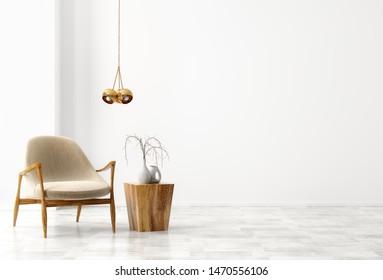 Interior background of living room with wooden coffee table, golden lamp and beige armchair against white wall with copy space 3d rendering