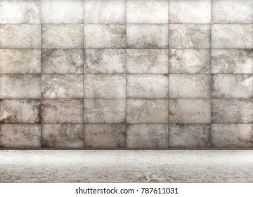 Interior background of room with concrete tiled wall 3d rendering
